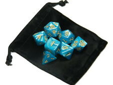 New 7 Piece Polyhedral Pearlescent Atlantean Blue Dice Set With Gold Numbers