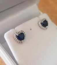 White gold finish blue sapphire heart and created diamond stud earrings gift box