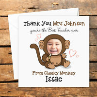 Personalised Handmade Thank You Photo Teacher Card Nursery Nurse Cheeky Monkey