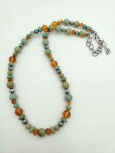 Carolyn Pollack American West Turquoise Amber Bead Sterling Silver Necklace
