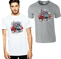 London Big Ben Vintage Car T-Shirt,Union Jack Retro Bus Car Gift Men's Women Top