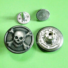 12 NO-SEW Metal Halloween Skull Cross Bone Jeans Tack Snaps Buttons 16.5mm G189