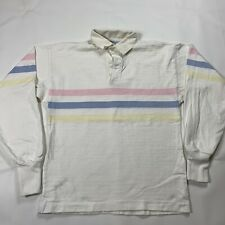 Vintage 90s Lanes End Made In USA Striped Long Sleeve Rugby Shirt Mens Large