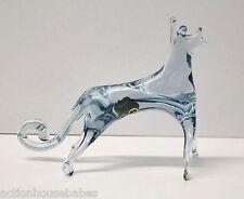 Cristaleria Murano Indstria Panamena Glass Blue Dog Figure