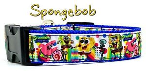 "Spongebob dog collar handmade adjustable buckle collar 1"" wide or leash"