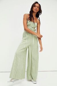 NEW FREE PEOPLE Sz M HOLD ME TIGHT PLAID CHECK BELTED WIDE LEG JUMPSUIT