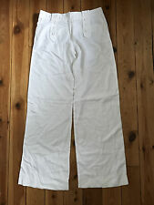 TOPSHOP TALL LADIES WHITE LINEN TROUSERS UK12 L30