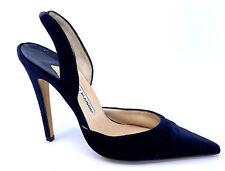 MANOLO BLAHNIK Carolyne Midnight Blue Velvet stiletto slingback shoe Size 40