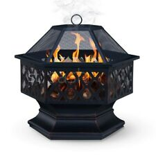 More details for hexagonal fire pit outdoor bbq firepit brazier garden stove patio heater grill