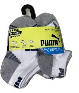 Puma 6 Pair Boy's Training Low Cut Socks Shoe Size 4-8.5 Sock Size 5-6.5