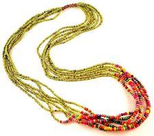 1 Multi Strand Green & Rainbow Wood Beaded Fashion Necklace - # B95