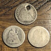 3 Seated Liberty Dimes -Lot of Three Seated Liberty Dimes A1425 1838 1891 1861