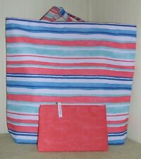 NEW 2 Pcs ESTEE LAUDER HORIZONTAL STRIPES TOTE BAG