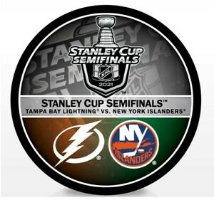 2021 STANLEY CUP SEMIFINALS PUCK N.Y. NEW YORK ISLANDERS TAMPA BAY LIGHTNING