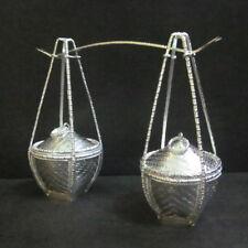 Fine Sterling Silver 925 Miniature WOVEN BASKET HANDLE RARE DECORATIVE HANDMADE