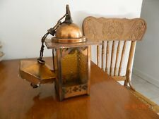 Vtg Copper Porch Ceiling Light Lantern Amber Stained Glass Panels Old
