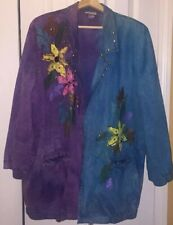 Tie-dye Hand Painted Embellished Crystals & Spikes Oversized Denim Jacket Sz L