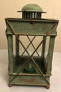 Vintage Green Distressed Metal Glass Small Tea Light Candle Lantern