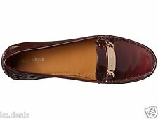6.5M COACH OLIVE SMOOTH PATENT PEARL METALLIC CHERRY WOMENS SLIP ON LOGO SHOES