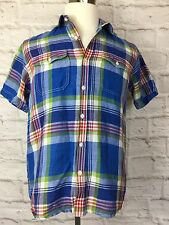Mainsail America Mens Large Blue Red Green Plaid Short Sleeve Shirt