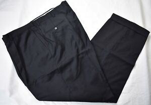 Hart Schaffner Marx Solid Black Worsted Wool Dress Pleat Trousers Size: 45x32