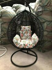Rattan Effect Garden Hanging Egg Swing Chair Relaxing Patio Hammock with Cushion