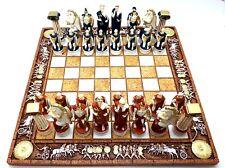 Chess Set Board & 32 Pieces Greek Roman Gods Warriors Statue Figurine Handmade