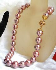 SINGLE STRAND 15MM DARK PINK MAJORCA PEARL NECKLACE GOLD F CLASP faux majorica