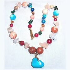 """Mixed stone bead necklace w turquoise 17""""  B52"""