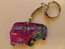 FUNKY PINK LOVE AND PEACE DESIGN VW CAMPER VAN KEYRING. NEW. KEY RING