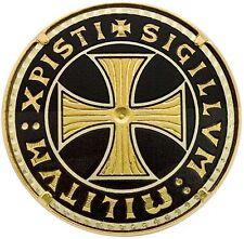 Damascene Gold Brooch Round Knight Templar Cross Design by Midas of Toledo Spain