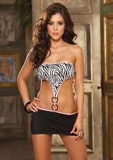 Sexy strapless clubwear dress set rings zebra Dreamgirl