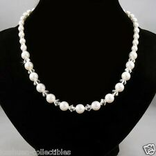 ~Elegant w Swarovski Crystal Pearl Sterling Silver~~ Bridal Wedding Necklace NEW