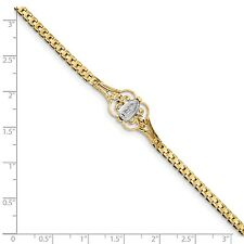 14k Solid Yellow Gold Rhodium Our Lady of Guadalupe 7in Bracelet - SKU #121419