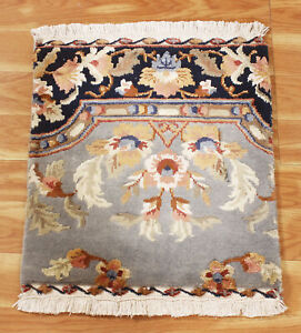 1.5x1.5 ft Indian Oriental Area Rugs Hand Woven Viscose Multicolor Floral Carpet