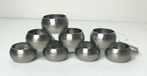 Kemp & Beatley Napkin Rings Set of 8 Hammered Silver Pewter Finish NEW