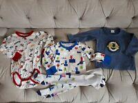 New Ex Mini Club Black Space Rocket Spaceman Full Leg Pyjamas PJ/'s 9-24m
