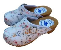 Womens Hand Made Clogs Sandals Ladies Wooden Sole Leather Upper Size 6-10 Floral