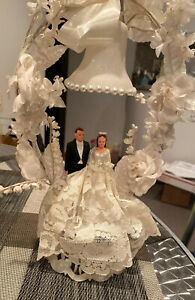 Vintage 1940's Bride and Groom Cake Topper Flowers & Lace & Bell    Gorgeous