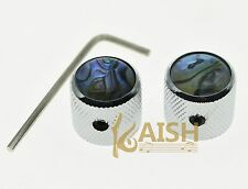 2 Pcs Abalone Top Chrome Guitar Dome Knobs for Tele Telecaster Bass Knob