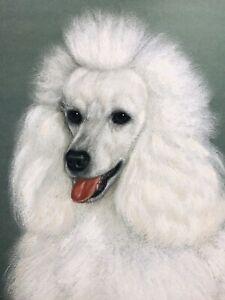Vtg 50's Mid Century Robert BOB HICKEY Standard Poodle Show Dog Portrait Antique