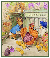 Peter Rabbit Visits Barnyard Friends Beatrix Potter Counted Cross Stitch Pattern