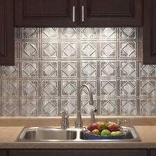 Kitchen Backsplash Decorative Vinyl Panel Wall Tiles Bathroom Plastic Tin Silver