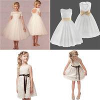 UK Bridesmaid Flower Girl Dress Kids Party Wedding Communion Pageant Formal Kids