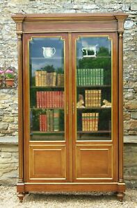 19th Century French Directoire Style Mahogany Bookcase Cabinet