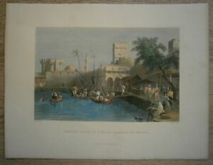 1837 Bartlett print SMALL HARBOUR IN RHODES, GREECE (#10)