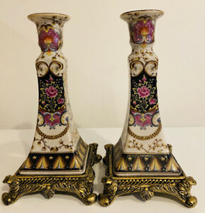 """2 Chinese Hand Design Imported Pillar Candle Holders Xiong Ying 10"""" On Base"""