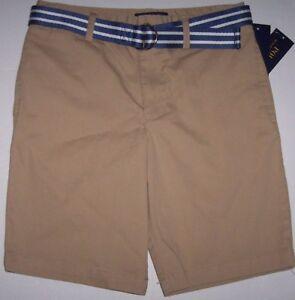NWT Polo Ralph Lauren Classic Flat-Front COASTAL BEIGE Khaki Shorts BELT 12 Boys