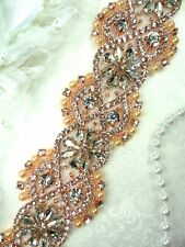 """DH64 Crystal Glass Rhinestone Trim Clear Rose Gold Settings Pearls And Beads 2"""""""