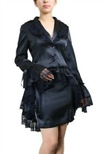 Ladies Black Gothic Victorian Steampunk Satin Corset Bustle Coat Jacket Size 12